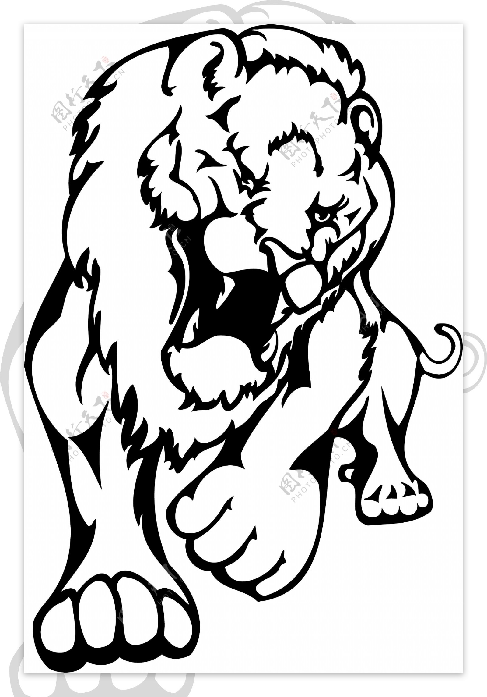 黑白简单威猛的卡通狮子矢量素材