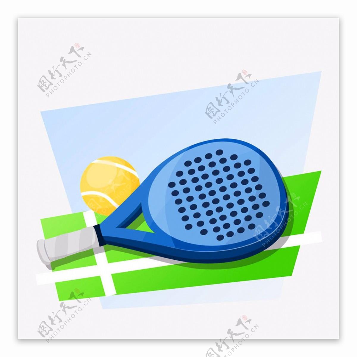蓝色球拍和网球logo图片