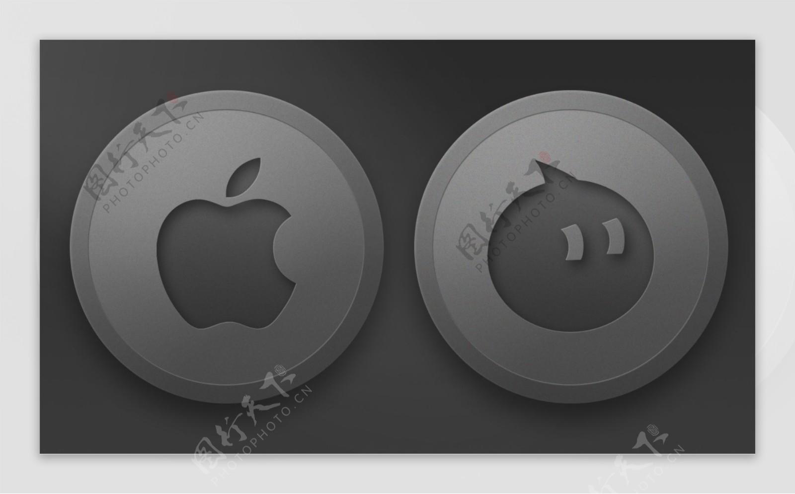 银灰色磨砂金属质感图标可套用图层样式