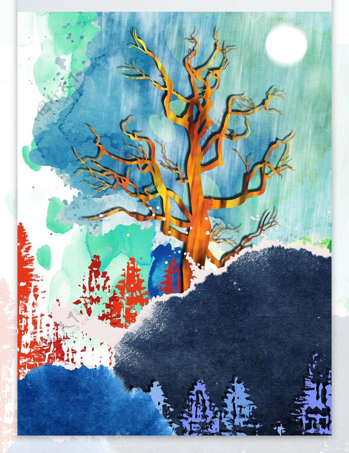 简约抽象水墨山林风景客厅装饰画