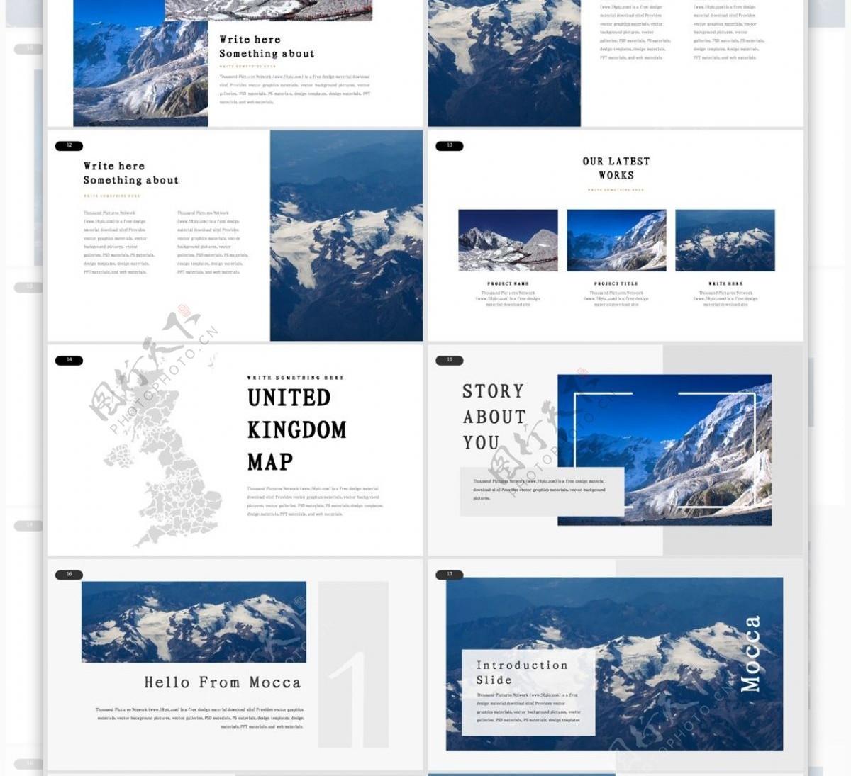 黑白欧美极简图文旅游相册PPT模板
